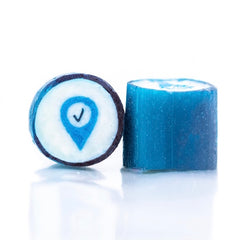 Company logo in the rock candy gift