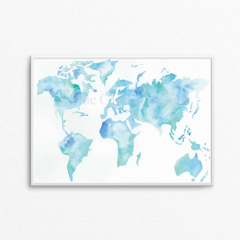 Wanderlust Map - Light Blue A3