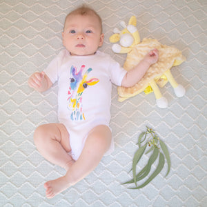 100% Cotton Rainbow Giraffe Onesie