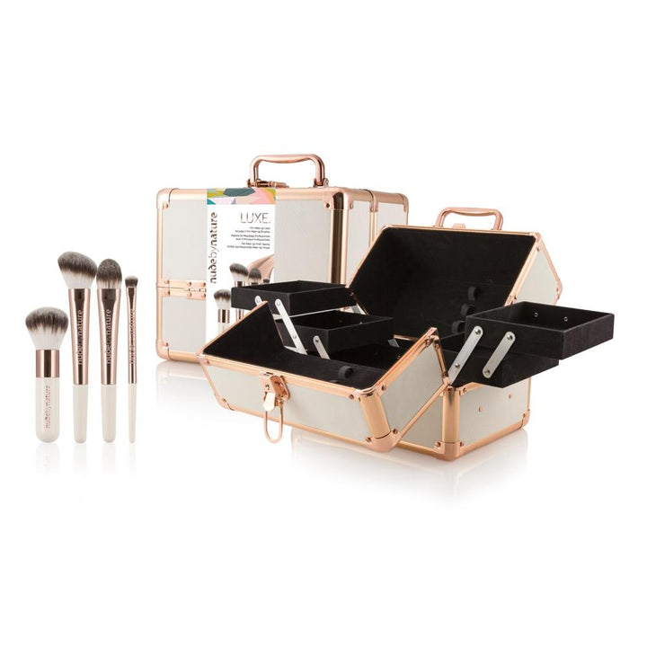 Luxe Pro Makeup Case and 4 Piece Brush Collection Gift Set