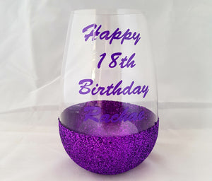 Personalised glittered stemless wineglass