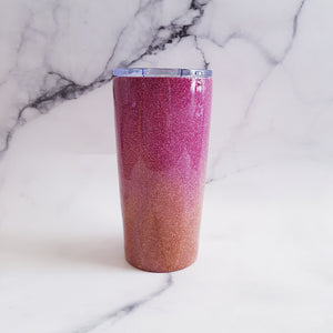 Ombre glitter travel coffee tumbler