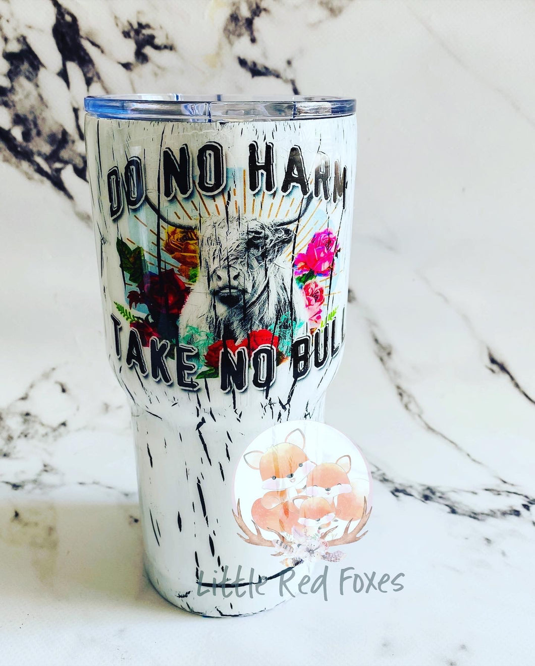 Take no bull, country themed stainless steel travel coffee mug