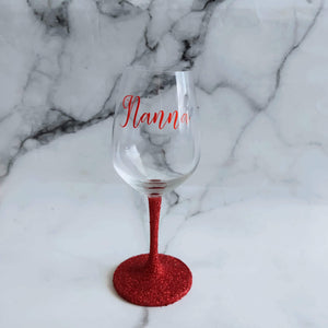 Glittered bridal  wineglass