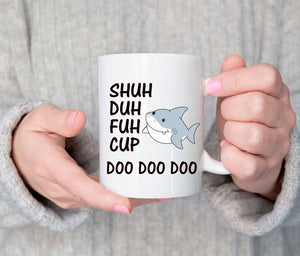 Adult humour shark youtube song mug