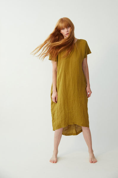 Black Crane PLEATED COCOON DRESS MUSTARD
