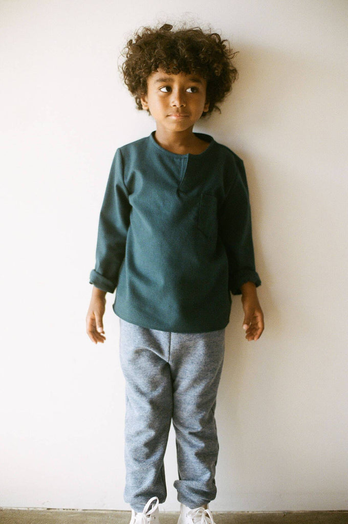 boy+girl l/s kurta forest green