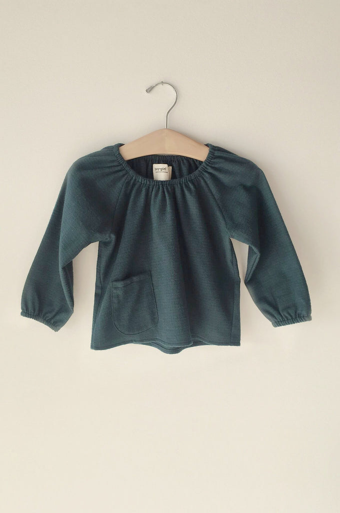 boy+girl peasant top forest green