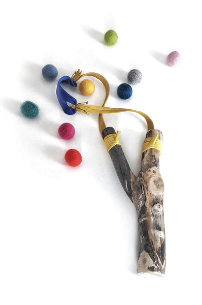 Brooke Wade Yellow Slingshot with Felt Balls