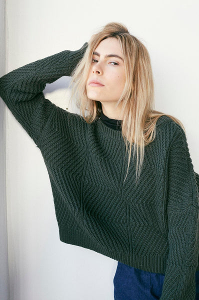 Micaela Greg BEVEL SWEATER FOREST