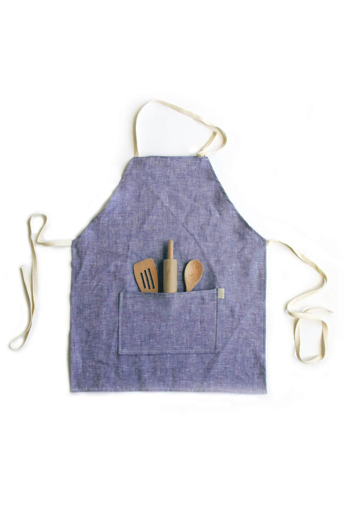 OW Brooklyn KIDS APRON SET INDIGO LINEN