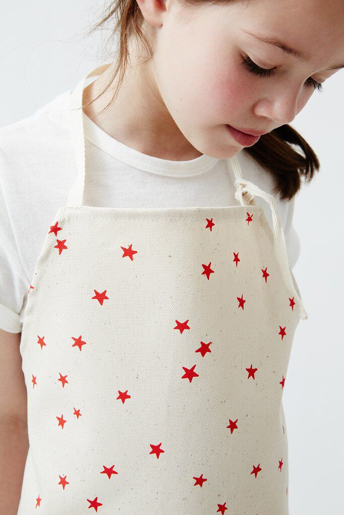 KIDS APRON SET RED STAR