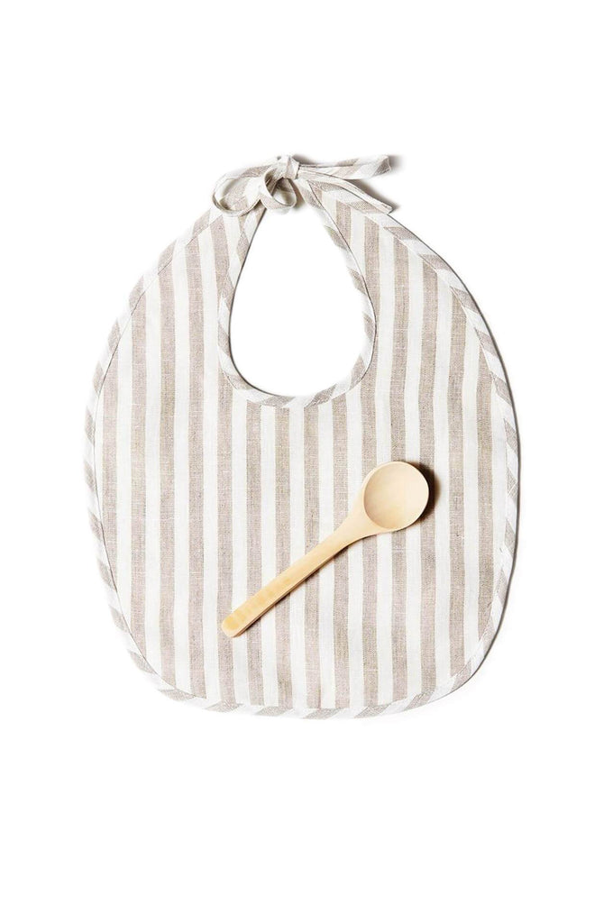 BIB SET TAUPE WHITE STRIPE