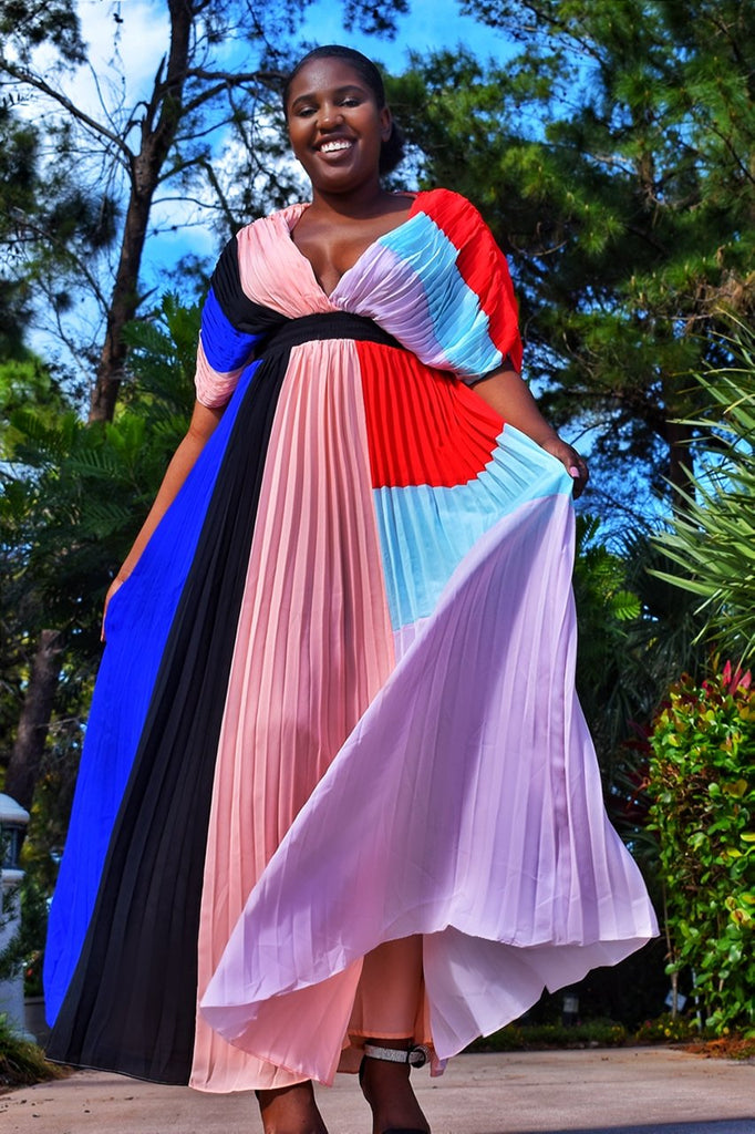 Colorblock ruffle dress