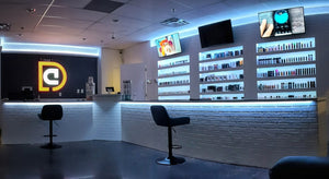 Picture of the new dripcrate vape shop with LED illuminating the shelving