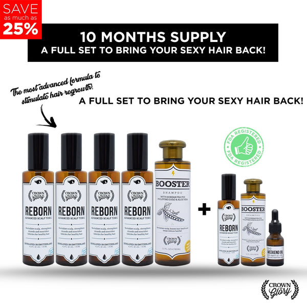 Crown & Glory Reborn 10-Month Supply (Hair Grower) - HairFood Co. Worldwide