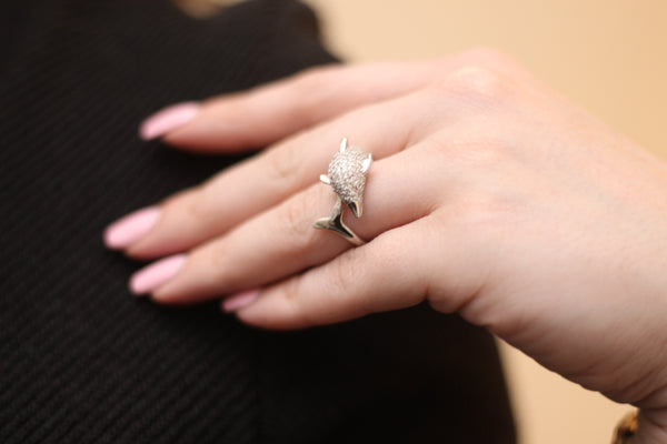 Dolphin Sterling Silver CZ Ring