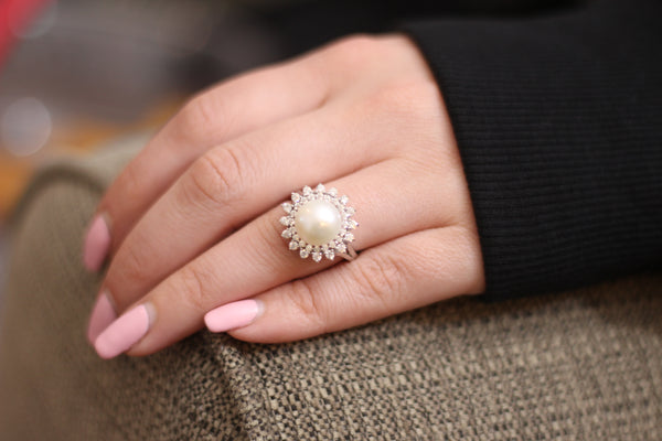 925 Sterling Silver Freshwater Pearl Halo CZ Ring