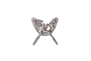 Criss Cross Silver CZ Ring