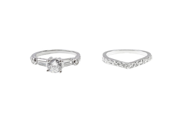 Solitaire Sterling Silver CZ Set