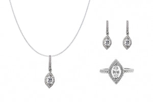 Sterling Silver Marquise Halo CZ Jewellery Set