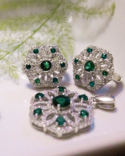 Sterling Silver CZ Emerald Set