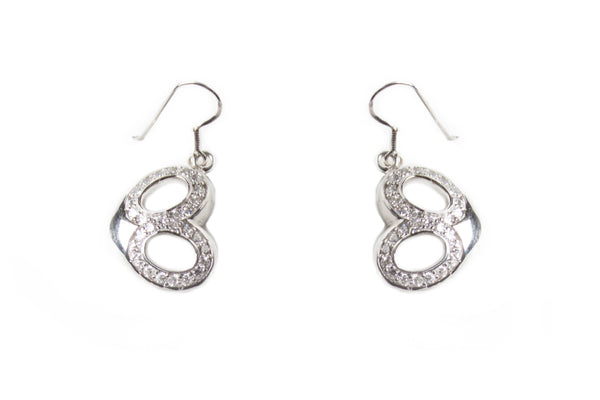 Sterling Silver CZ Hearts Drop Earrings