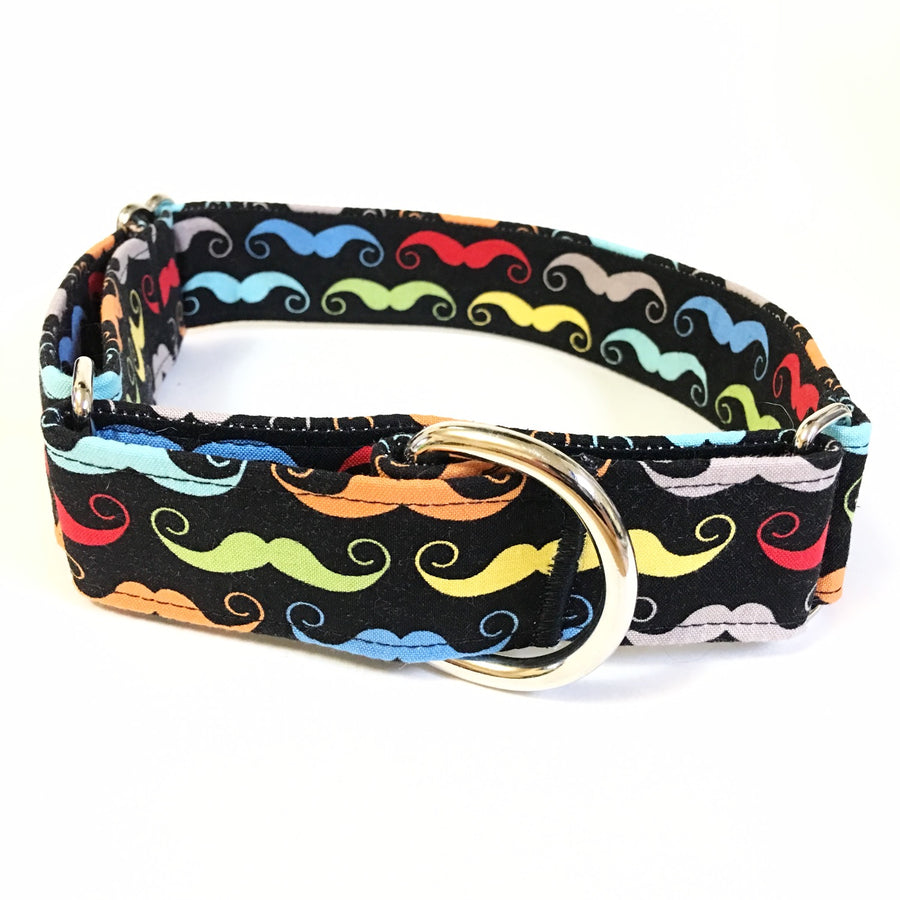 Black Moustache Martingale Collar - N.G. Collars