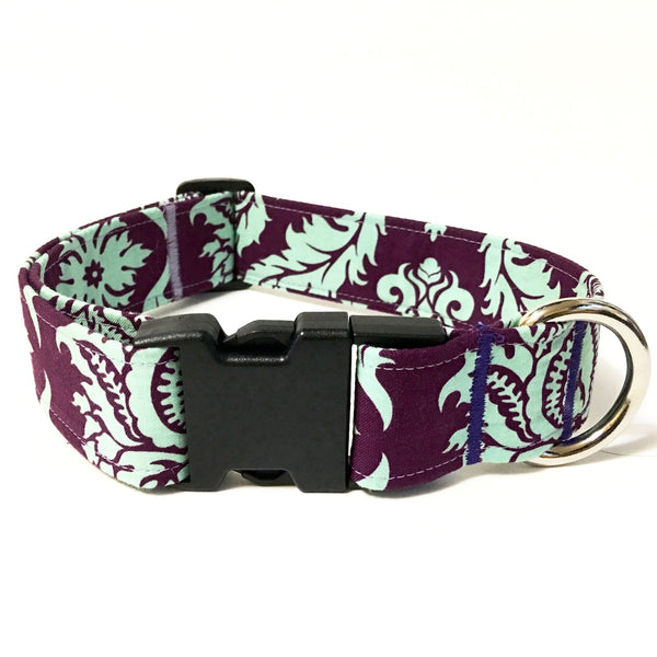 Plum Damask Buckle Collar - N.G. Collars