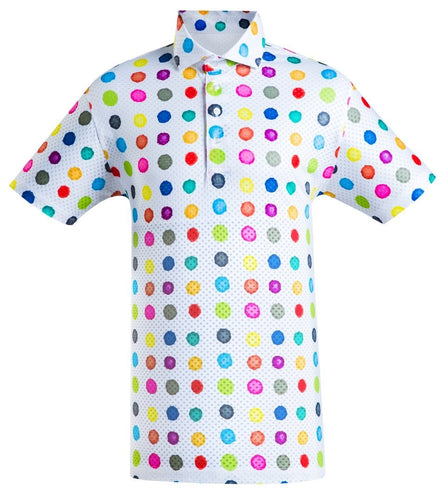 Polka dot golf shirt men