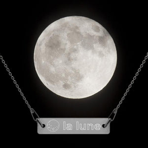 """La Lune"" Engraved Bar Chain Necklace"