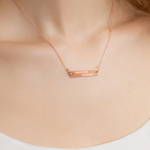 Medicine Woman Engraved Bar Chain Necklace