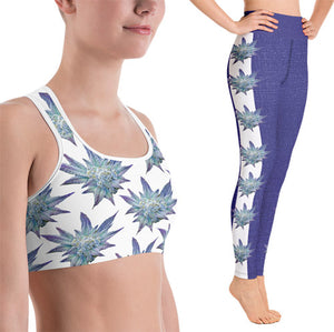 Blue Dream Floral Print Sports Bra and Yoga Pants for HIGH Fashion Athleisure