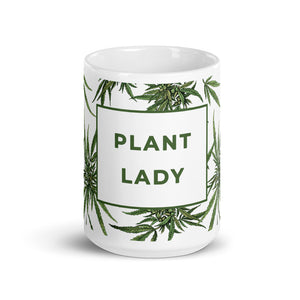 "Botanical Mug with ""Plant Lady"" Message"