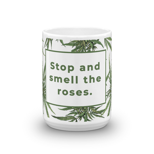 Stop and Smell the Green Roses Botanical Mug
