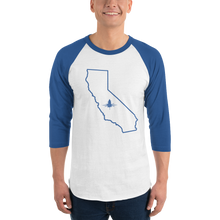 70's Style T for Cali Lovers With 3/4 Length Sleeves in Blue