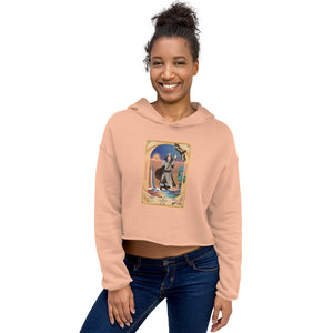 "Rainbow Bridge Cropped Sweat Shirt Hoodie, Temperance Card from the ""Oracle of the Green Rose"""