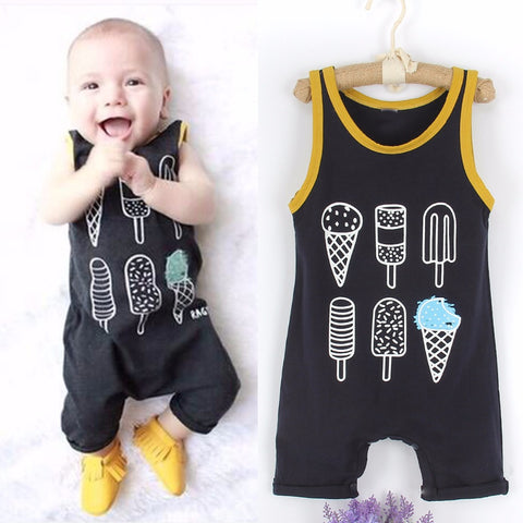 Ice Cream Sleeveless Romper Jumpsuit