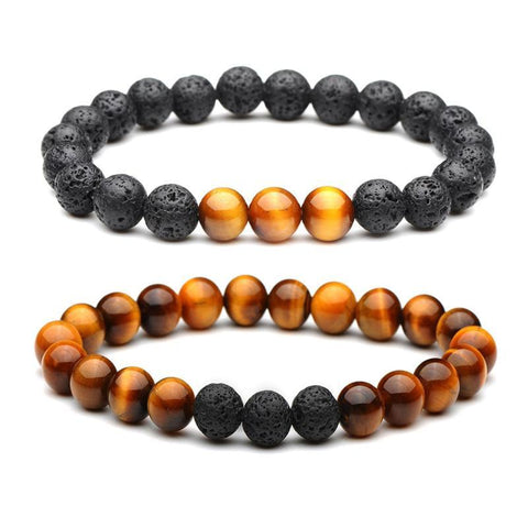 Lava Rock Tiger Eyes Beaded Bracelet Natural Stone 2pcs 8mm