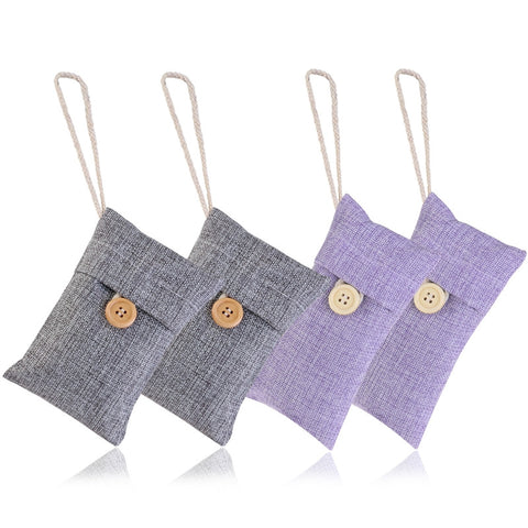 4 Pack Natural Air Purifying Bag Bamboo Charcoal Pouch