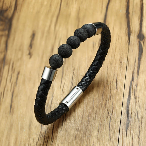 Lava Stone Beads with Leather and Magnetic Buckle Bracelet