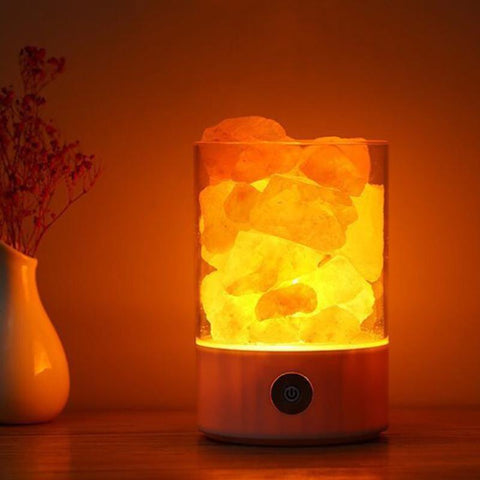 Crystal Salt Lamp Negative Ion Air Purifying Night Light