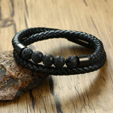 Lava Stone Beads with Twisted Leather and Magnetic Buckle Bracelet