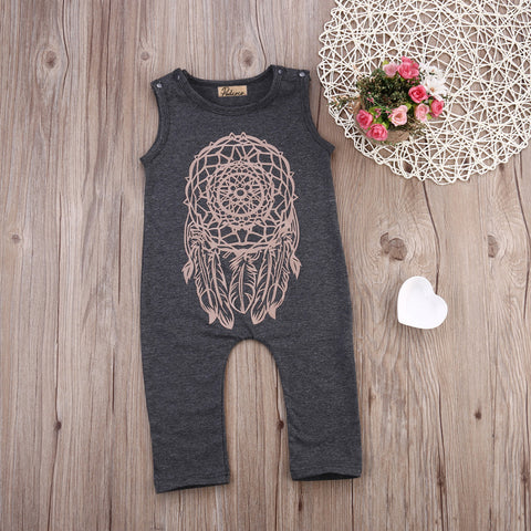 Baby Girls Dreamcatcher Overalls Sleeveless Grey Jumpsuit