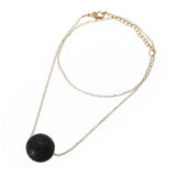 Black Lava Stone (Triangle or Ball) Essential Oil Necklace