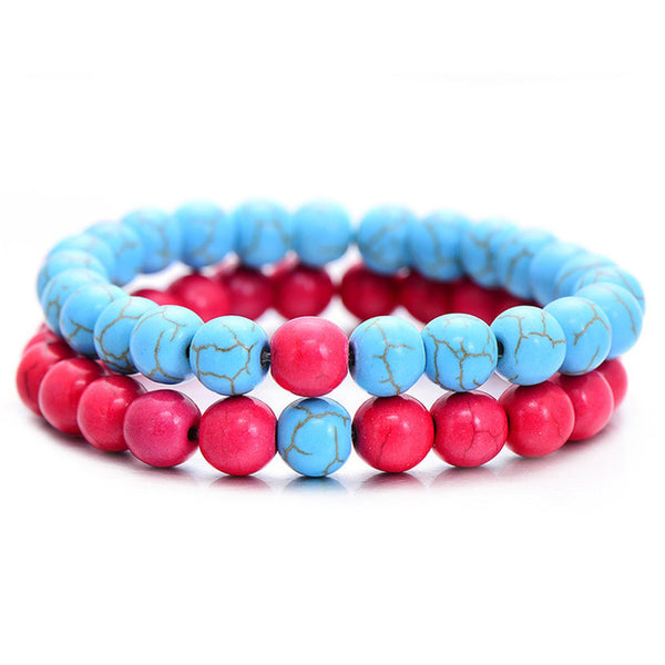 Classic Natural Stone Bracelet - Blue Hot Pink