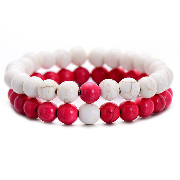 Classic Natural Stone Bracelet - White Red