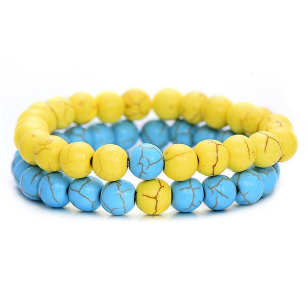 Classic Natural Stone Bracelet - Yellow Blue