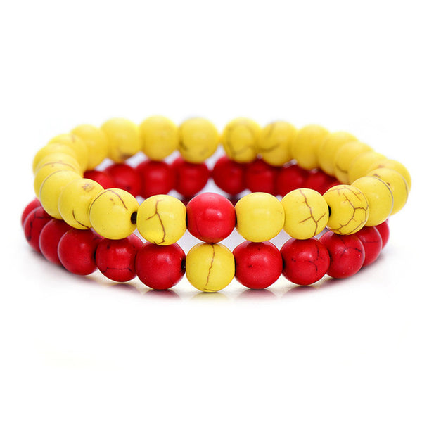Classic Natural Stone Bracelet - Yellow Red