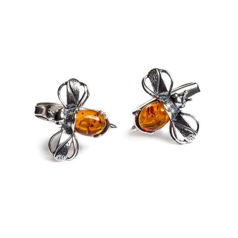 Cognac Bumble Bee Cufflinks in Silver and Amber